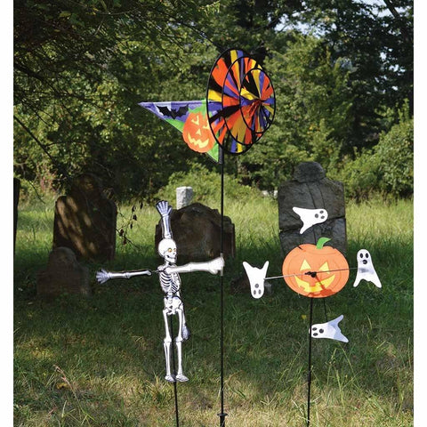 "Pumpkin & Ghost 10"" Whirligig Wind Spinner"
