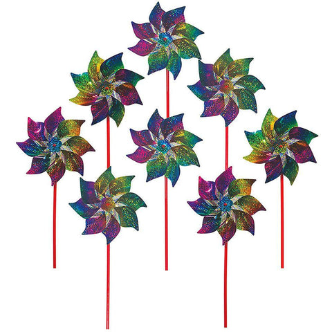 Rainbow Whirl Mylar Pinwheel 8 Pack Bundle