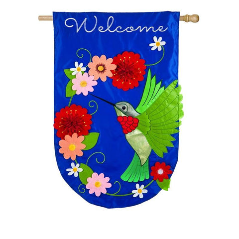 Hummingbird Applique House Flag