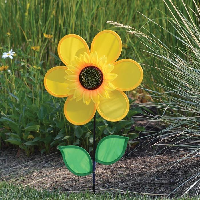 12 Inch Sunflower Wind Spinner With Leaves Kitty Hawk Kites Online Store