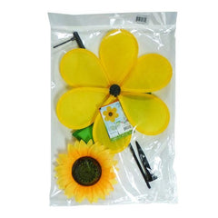 12 Inch Sunflower Wind Spinner With Leaves