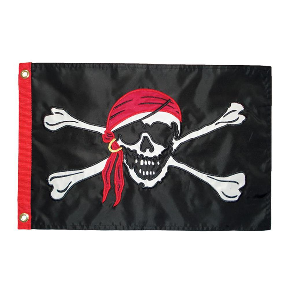 Jolly Roger Applique 12x18 Inch Grommeted Flag - Kitty Hawk Kites Online Store