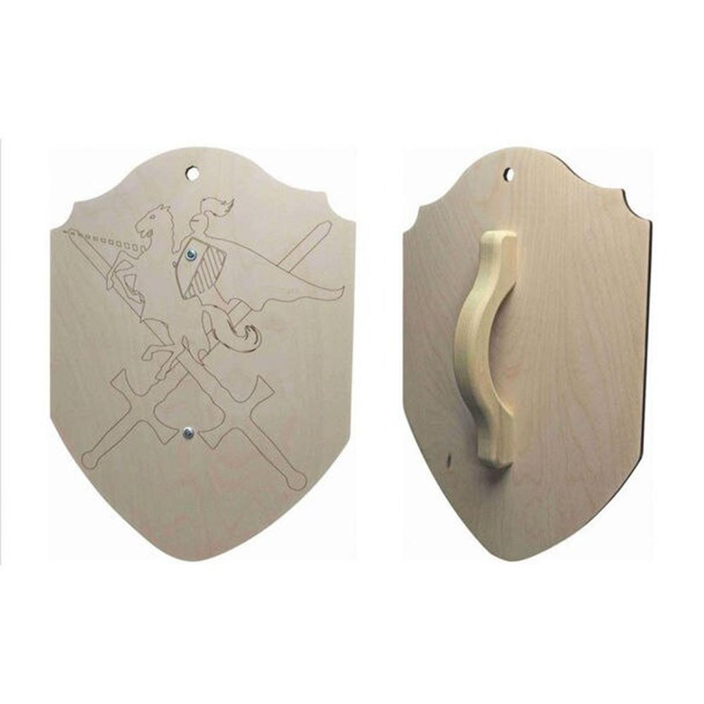 Large Wooden Shield with Handle