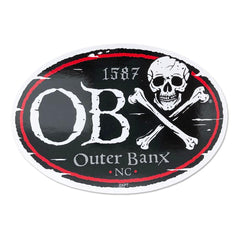 OBX Oval Bones Pirate Sticker