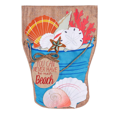 Sea Shell Bucket Garden Burlap Flag - Kitty Hawk Kites Online Store