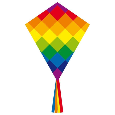 Rainbow Patchwork 28 Inch Diamond Kite