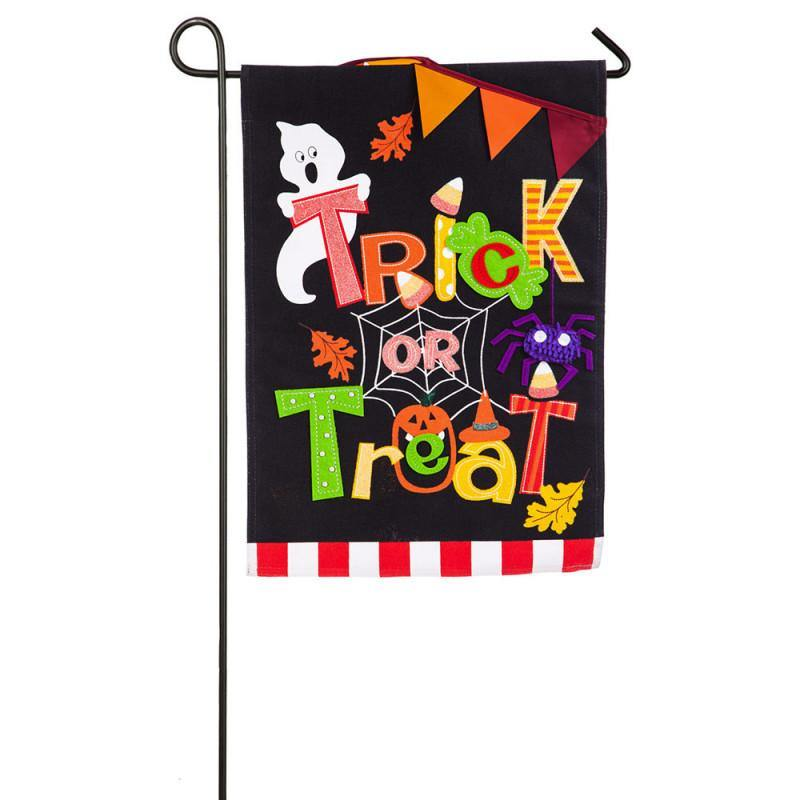 Trick or Treat Burlap Garden Flag