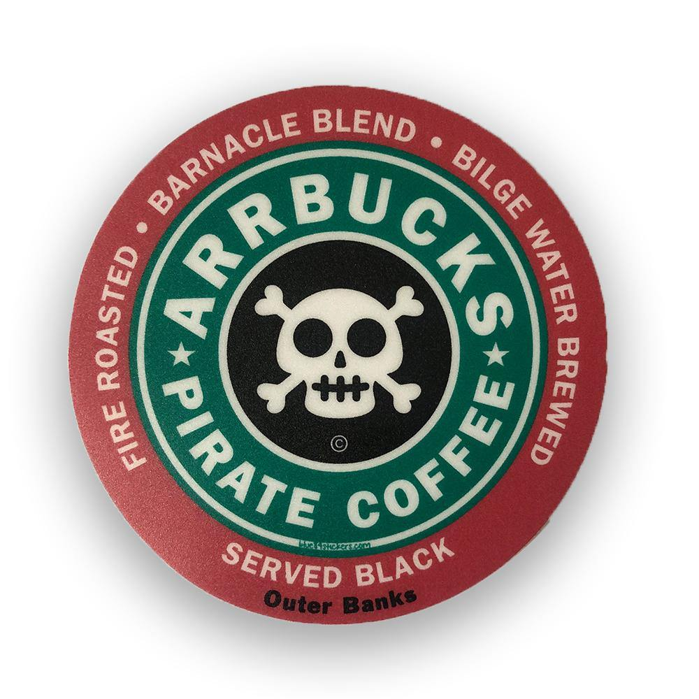 Arrbucks Pirate Coffee Sticker - Kitty Hawk Kites Online Store