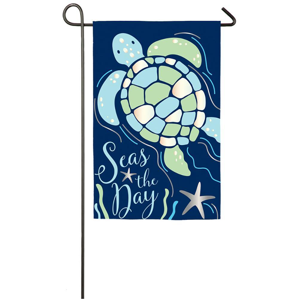 Seas the Day Sea Turtle Appliqué Garden Flag