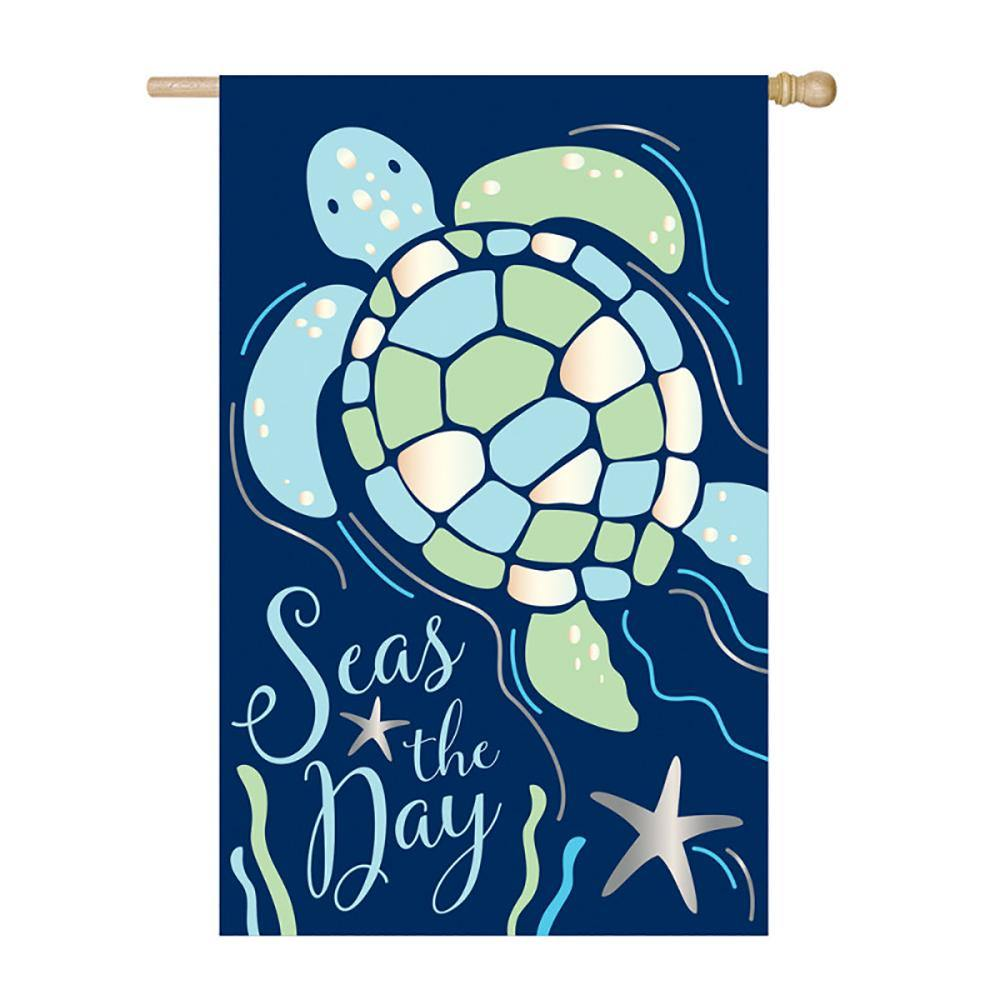 Seas the Day Sea Turtle Appliqué House Flag