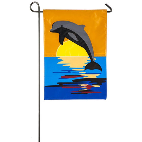 Dolphin Sunset Appliqué Garden Flag