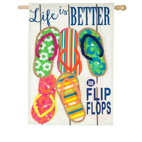 Life is Better In Flip Flops Linen House Flag - Kitty Hawk Kites Online Store