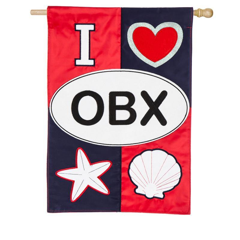 I Love OBX Appliqué House Flag - Kitty Hawk Kites Online Store