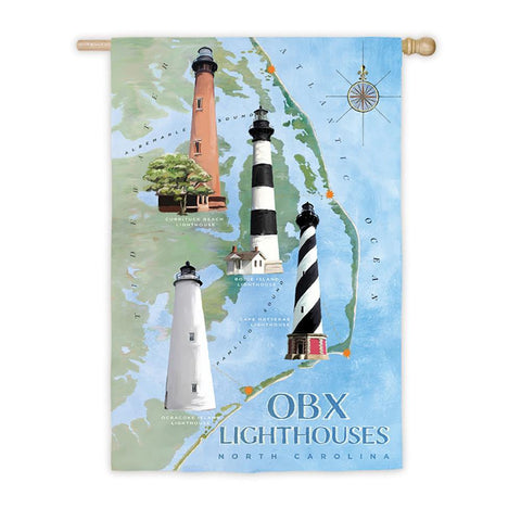 OBX North Carolina Lighthouses Suede House Flag - Kitty Hawk Kites Online Store