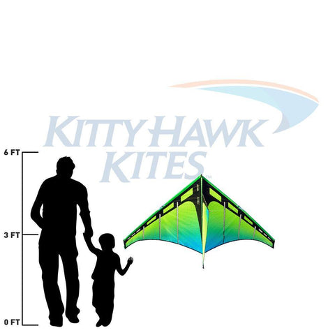 green and blue zenith 5 delta kite size relative to adult and child