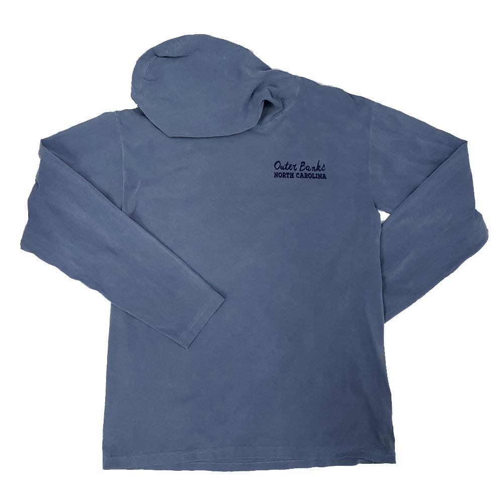 Outer Banks Circle Whale Hooded Long Sleeve Shirt