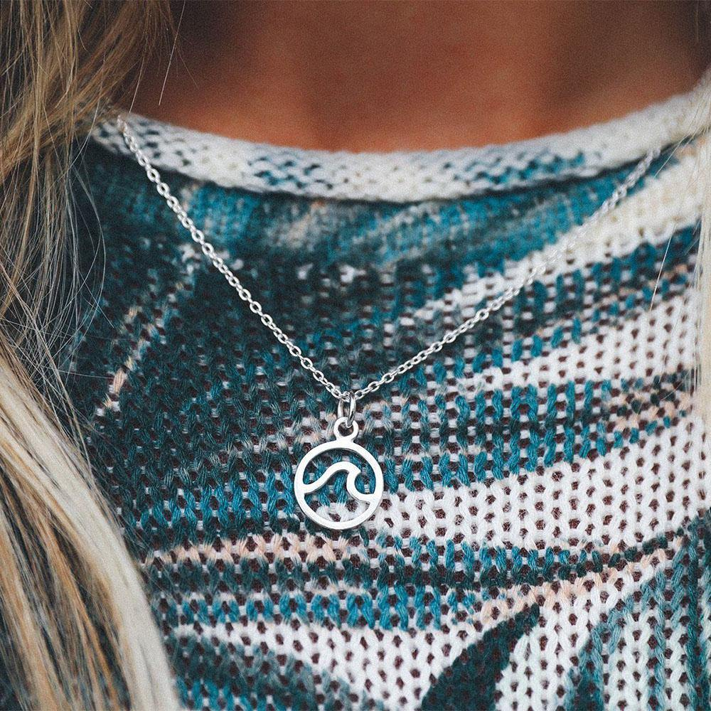 Silver Wave Necklace - Kitty Hawk Kites Online Store