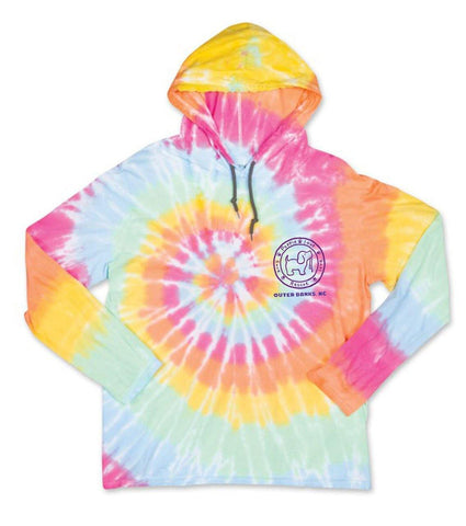 Tie Dye Pup Hooded Long Sleeve T-Shirt