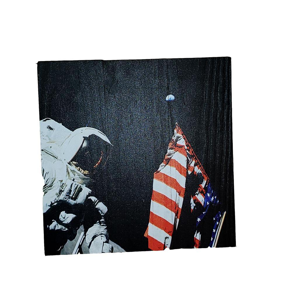 Astronaut With Flag Wood Sign - Kitty Hawk Kites Online Store