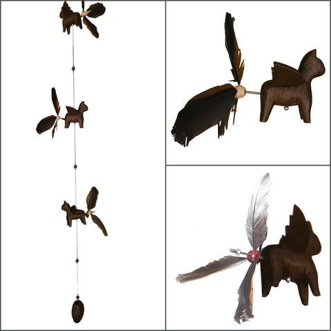 Wood Cat Whirly Mobile