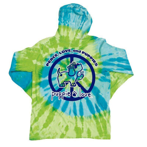 Tie Dye Peace Pup Hooded Long Sleeve T-Shirt