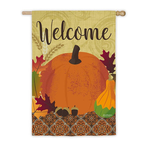 Harvest Pumpkin Welcome Suede House Flag