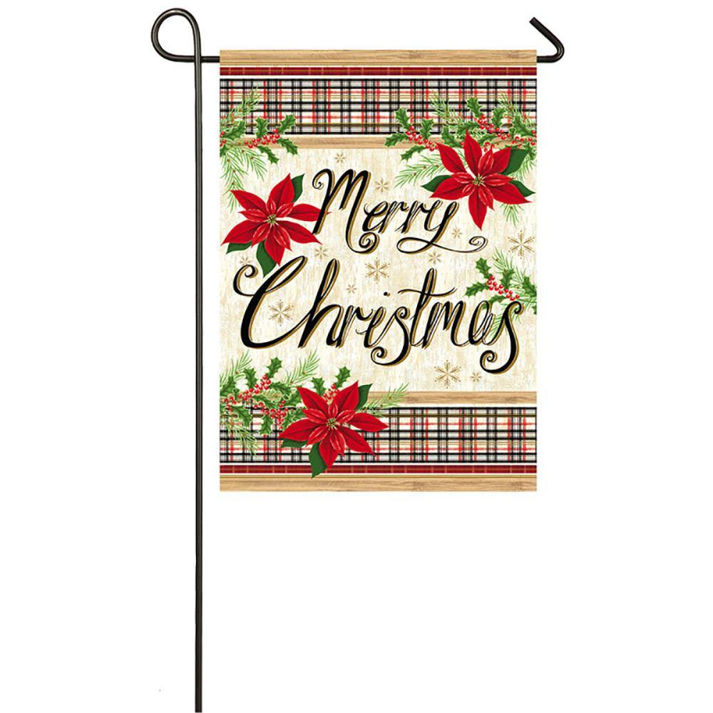 Merry Christmas Plaid and Poinsettias Suede Garden Flag