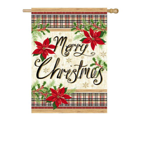 Merry Christmas Plaid & Poinsettias Suede House Flag