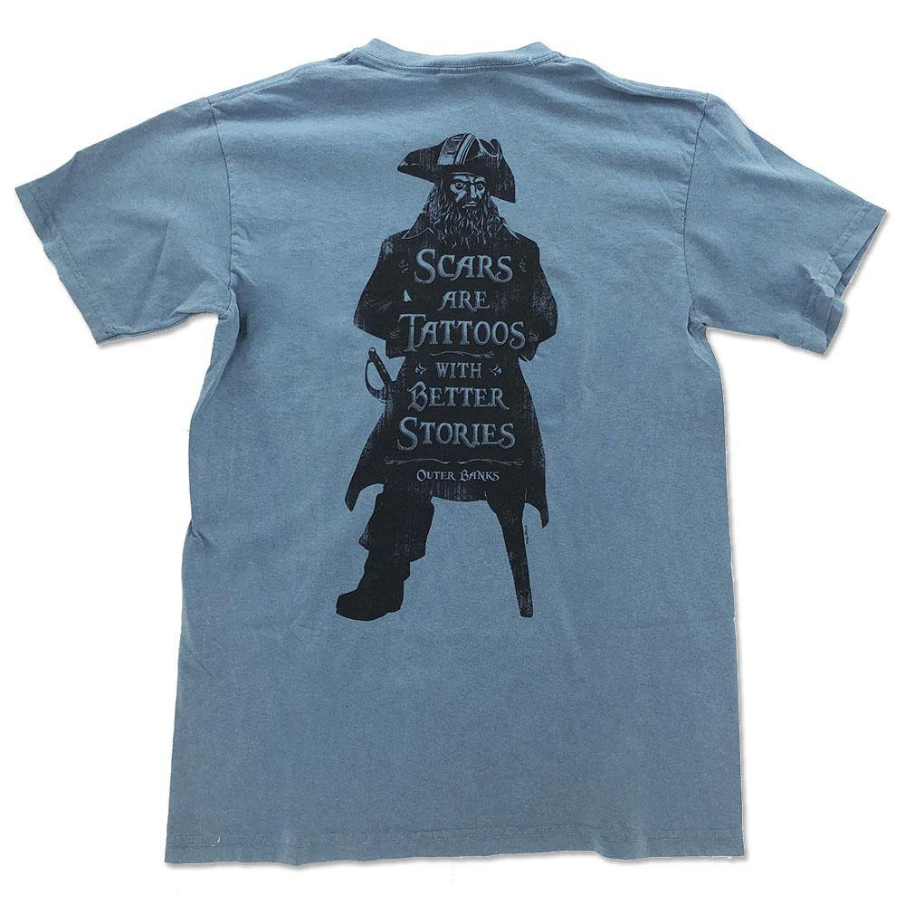 Scars Are Tattoos Pirate Silhouette Short Sleeve T-Shirt - Kitty Hawk Kites Online Store