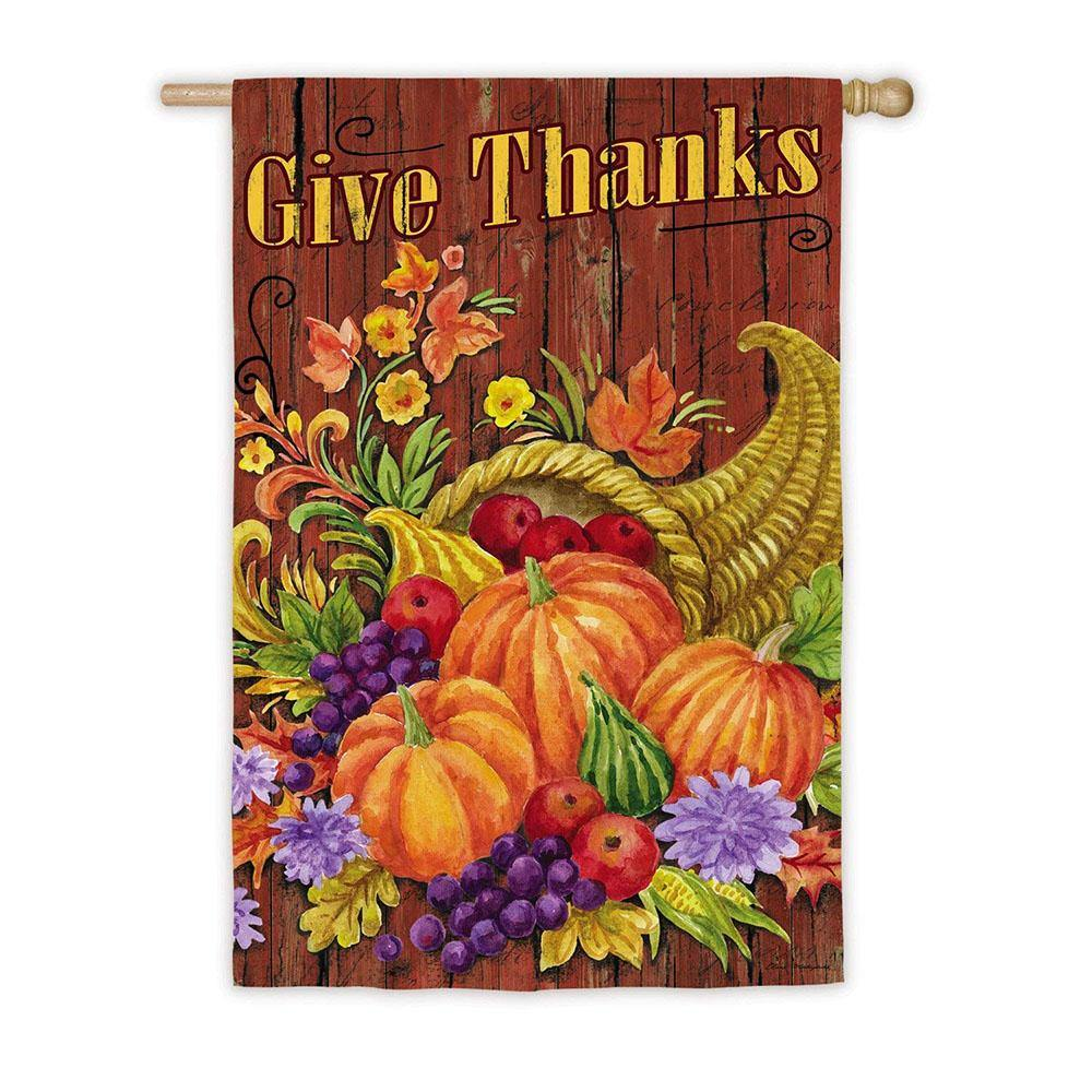 Give Thanks Cornucopia Suede House Flag