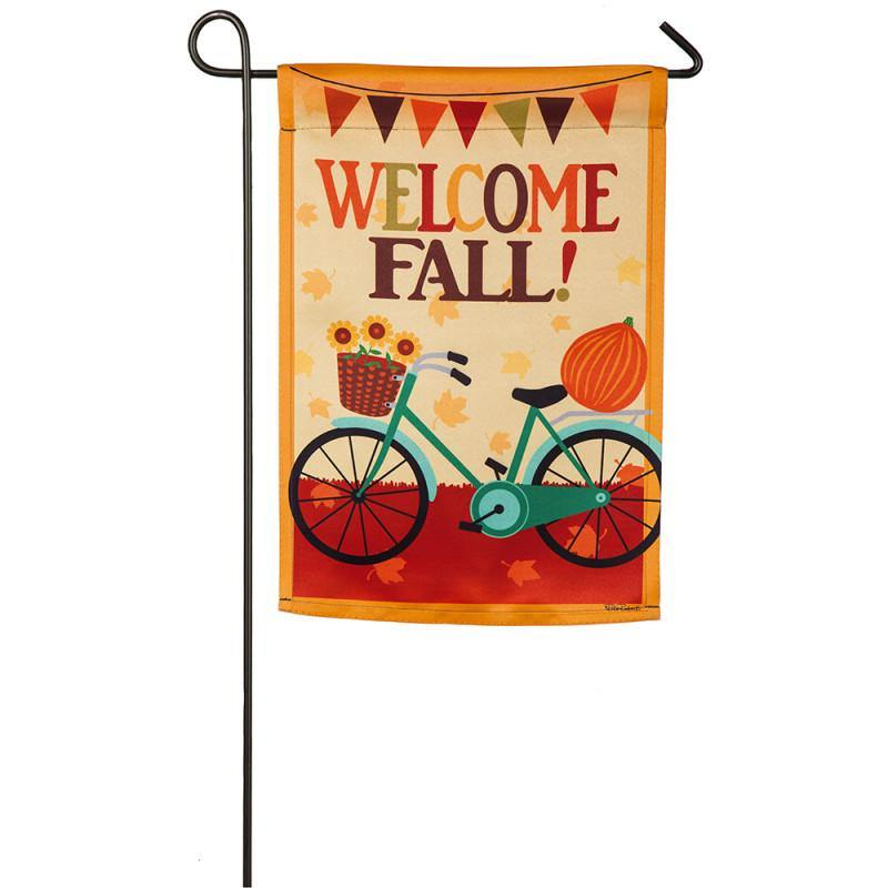 Fall Welcome Bicycle Suede Garden Flag