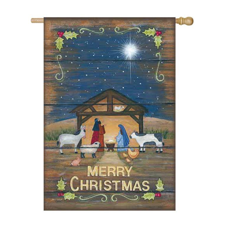 Merry Christmas Nativity Suede House Flag