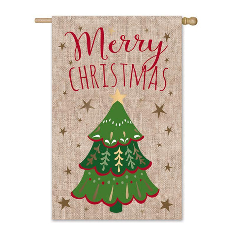 Merry Christmas Tree Burlap House Flag with Stars