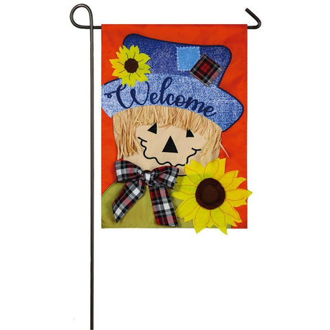 Sunflower Scarecrow Applique Garden Flag