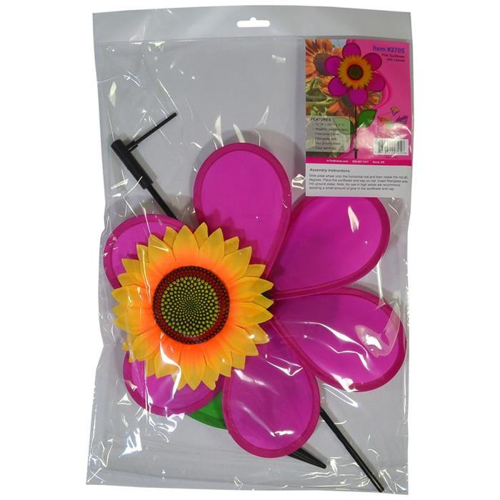 12 Inch Pink Sunflower Wind Spinner