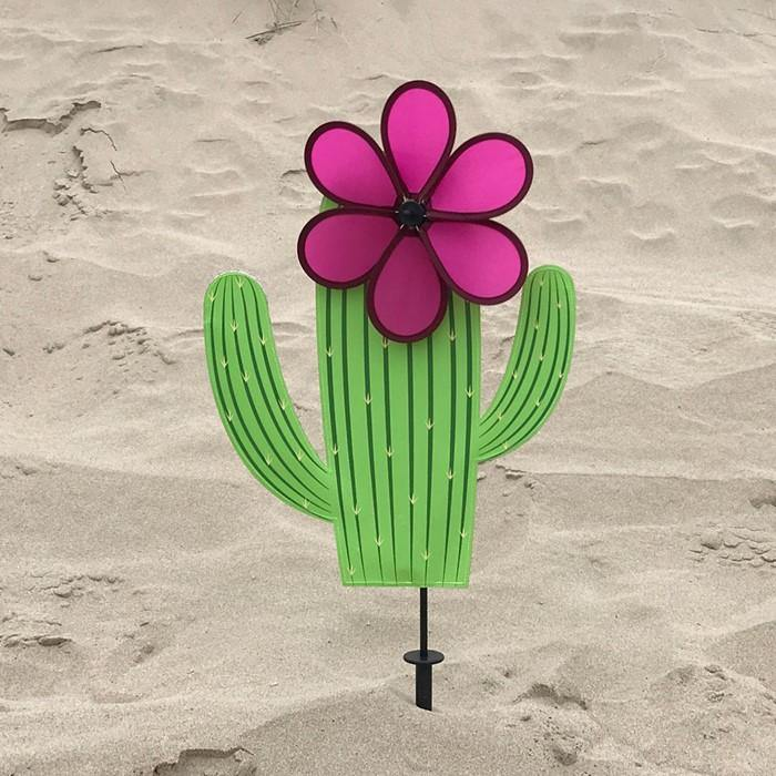 Cactus With 10 Inch Pink Flower Spinner