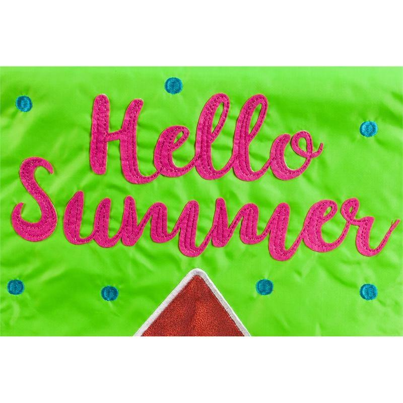 Hello Summer Watermelon Applique Garden Flag