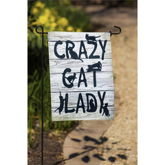 Crazy Cat Lady Suede Garden Flag - Kitty Hawk Kites Online Store