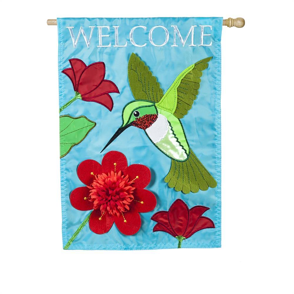 Hummingbird Welcome Applique House Flag