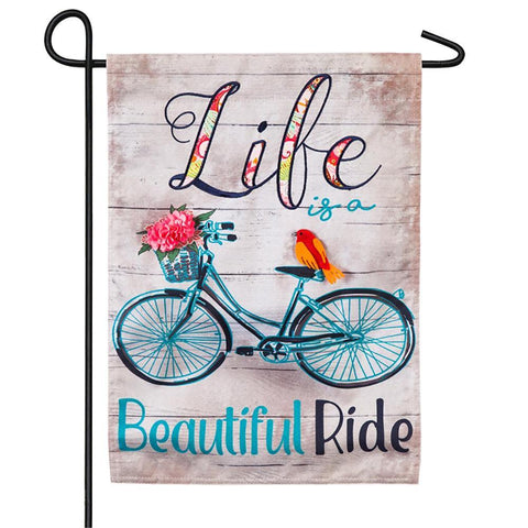 Life is a Beautiful Ride Linen Garden Flag