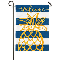 Pineapple Stripe Linen Garden Flag