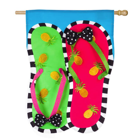 Pineapple Flip Flops Appliqué House Flag - Kitty Hawk Kites Online Store