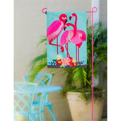 Fancy Flock of Flamingos Linen Garden Flag - Kitty Hawk Kites Online Store