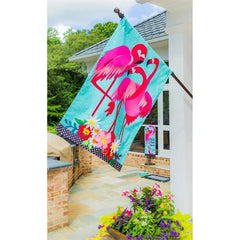Fancy Flock of Flamingos Linen House Flag
