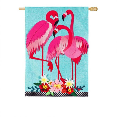 Fancy Flock of Flamingos Linen House Flag - Kitty Hawk Kites Online Store