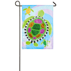 Sea Turtle Family Appliqué Garden Flag