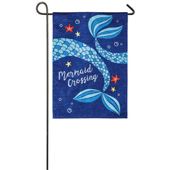 Mermaid Crossing Linen Garden Flag