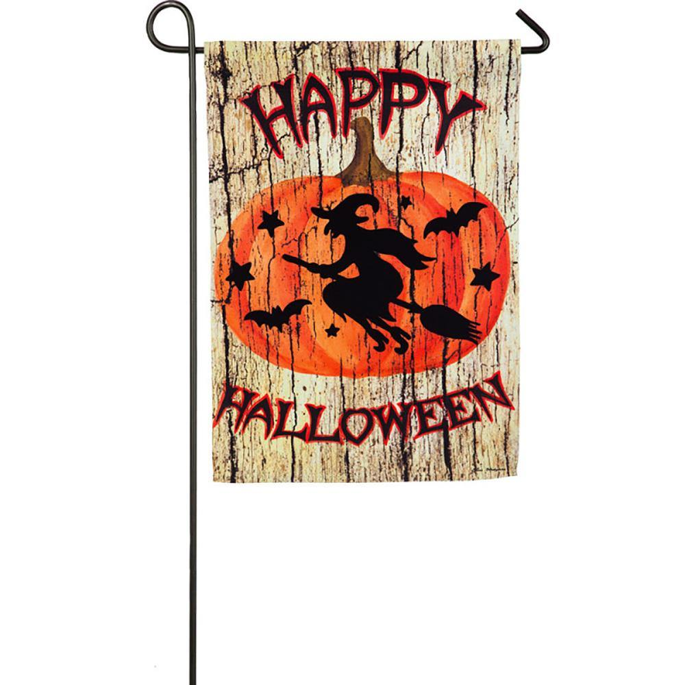 Witch on Broom Suede Garden Flag
