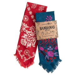 Set of 2 Red/Teal Bandanas