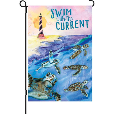 Swim With The Current Garden Flag